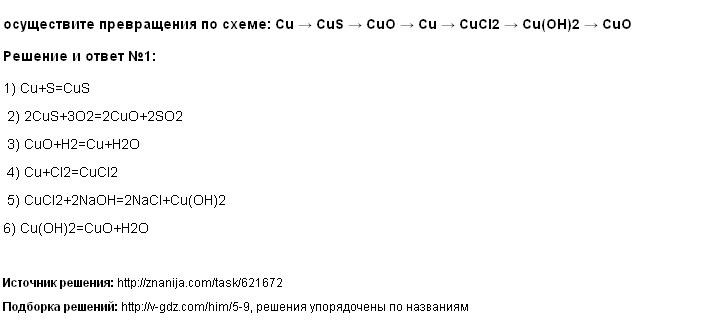 Решение осуществите превращения по схеме: Cu → CuS → CuO → Cu → CuCl2 → Cu(OH)2 → CuO