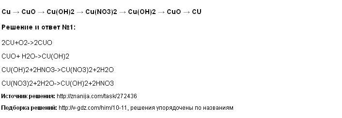Решение Cu → CuO → Cu(OH)2 → Cu(NO3)2 → Cu(OH)2 → CuO → CU