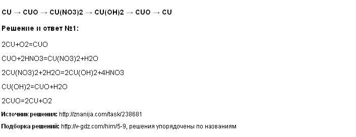 Решение CU → CUO → CU(NO3)2 → CU(OH)2 → CUO → CU