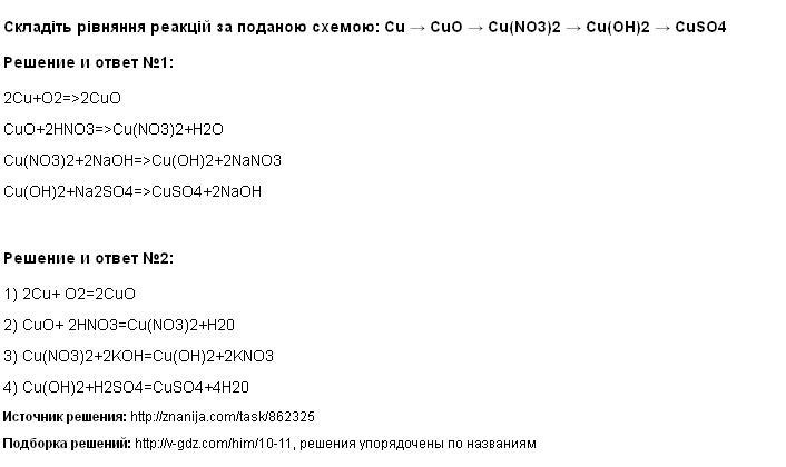 Решение Складіть рівняння реакцій за поданою схемою: Cu → CuO → Cu(NO3)2 → Cu(OH)2 → CuSO4