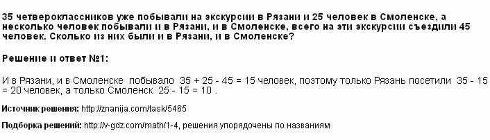 Решение 35 четвероклассников уже побывали на экскурсии в Рязани и 25 человек в Смоленске, а несколько человек побывали и в Рязани, и в Смоленске, всего на эти экскурсии съездили 45 человек. Сколько из них были и в Рязани, и в Смоленске?