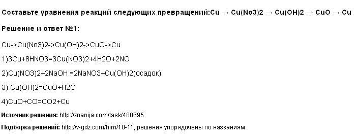 Решение Составьте уравнения реакций следующих превращений:Cu → Cu(No3)2 → Cu(OH)2 → CuO → Cu