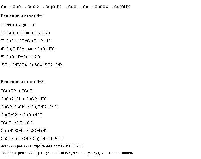 Решение Cu → CuO → CuCl2 → Cu(OH)2 → CuO → Cu → CuSO4 → Cu(OH)2