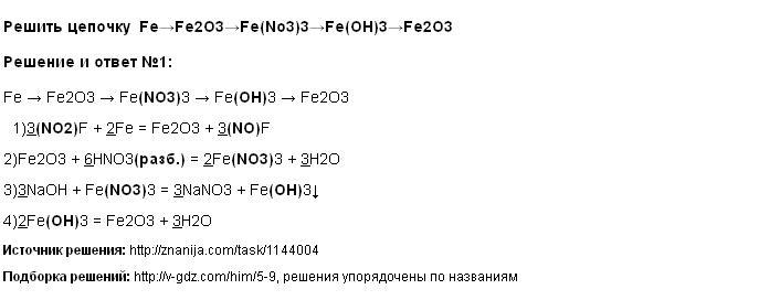 Решение Решить цепочку Fe→Fe2O3→Fe(No3)3→Fe(OH)3→Fe2O3